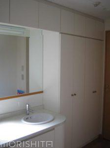 洗面カウンター+壁面収納棚